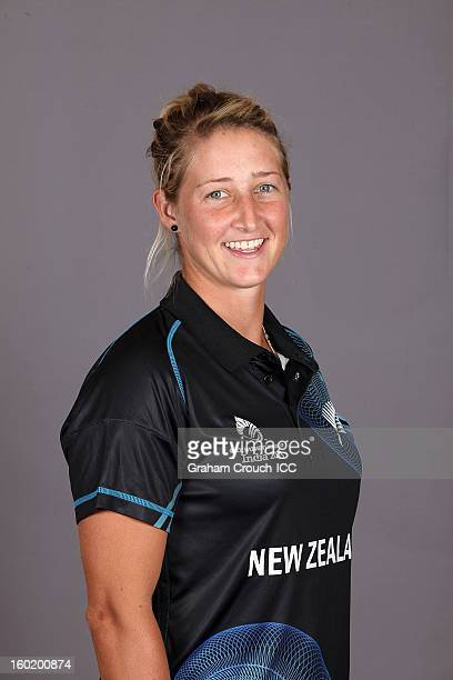 Sophie Devine of New Zealand poses at a portrait session ahead of the ICC Womens World Cup 2013 at the Taj Mahal Palace Hotel on January 27 2013 in...