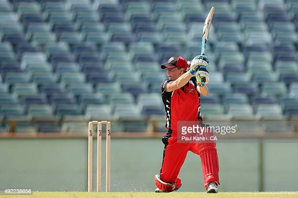Sophie Devine of South Australia bats during the round one WNCL match between Western Australia and South Australia at WACA on October 11 2015 in...