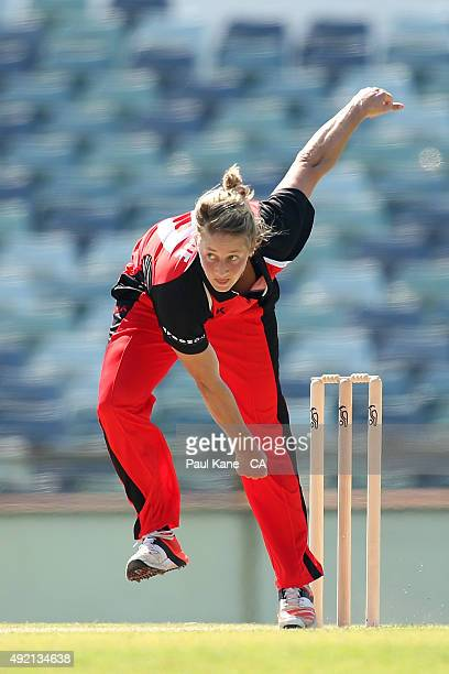 Sophie Devine of South Australia bowls during the round one WNCL match between New South Wales and South Australia at WACA on October 10 2015 in...
