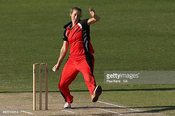 Sophie Devine of South Australia bowls during the round one WNCL match between Western Australia and South Australia at WACA on October 11 2015 in...