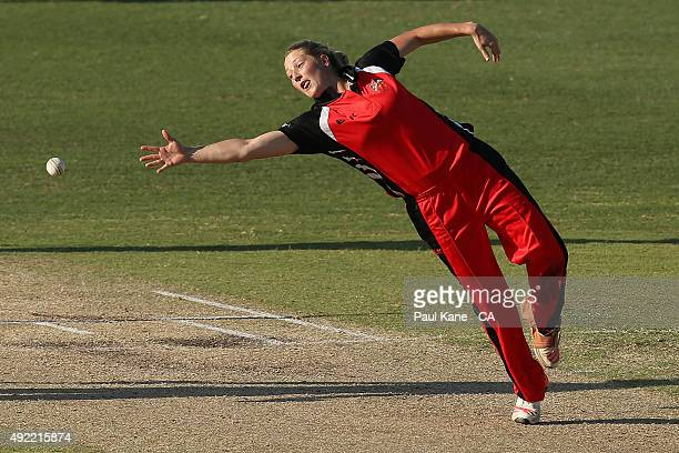Sophie Devine of South Australia stretches for a caught and bowled opportunity during the round one WNCL match between Western Australia and South...