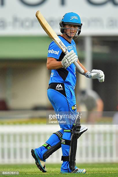 Sophie Devine of the Adelaide Strikers reacts after reaching her half century during the WBBL match between the Adelaide Strikers and the Hobart...