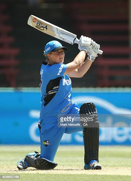 Sophie Devine of the Strikers bats during the Women's Big Bash League match between the Adelaide Strikers and the Melbourne Renegades at North Sydney...