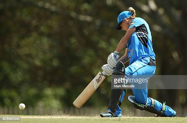 Sophie Devine of the Strikers bats during the Women's Big Bash League match between the Melbourne Renegades and the Adelaide Strikers at North Sydney...