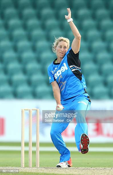 Sophie Devine of the Strikers bowls during the Women's Big Bash League match between the Hobart Hurricanes and Adelaide Strikers at Aurora Stadium on...