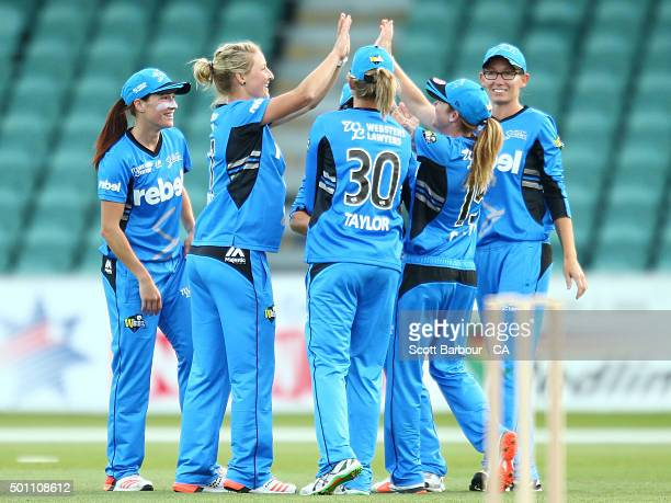 Sophie Devine of the Strikers celebrates after taking a wicket during the Women's Big Bash League match between the Hobart Hurricanes and Adelaide...
