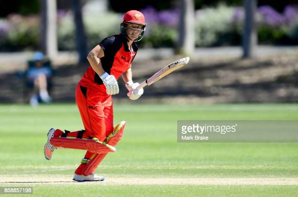 Sophie Devine runs her 50 th run during the WNCL match between South Australia and Tasmania at Adelaide Oval No2 on October 8 2017 in Adelaide...