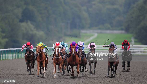 Sophie Doyle on Lang Shining comes through to win the Breeders' Cup Live On At The Races Claiming Stakes at Lingfield Park on September 14 2010 in...