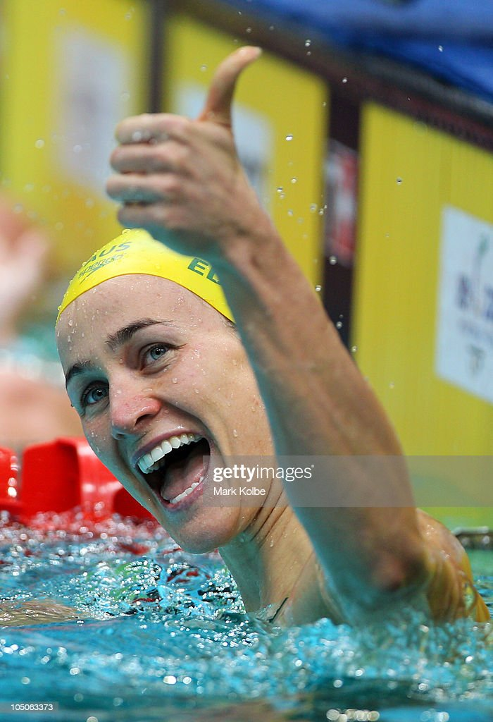 Sophie Edington of Australia celebrates finishing the Women's 50m Backstroke Final in first place and wins the gold medal at Dr. S.P. Mukherjee Aquatics Complex during day five of the Delhi 2010 Commonwealth Games on October 8, 2010 in Delhi, India.