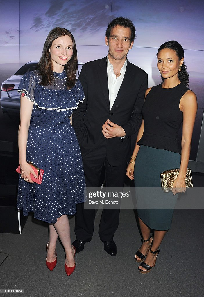 Sophie Ellis-Bextor, Clive Owen and Thandie Newton attend a party celebrating the global launch of Audi City, Audi's first digital showroom, featuring an art installation by Chris Cunningham, on July 16, 2012 in London, England.