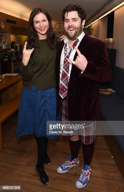 Sophie EllisBextor poses with cast member David Fynn backstage at the West End production of 'School Of Rock The Musical' at The New London Theatre...