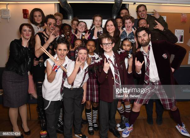 Sophie EllisBextor poses with cast members backstage at the West End production of 'School Of Rock The Musical' at The New London Theatre Drury Lane...