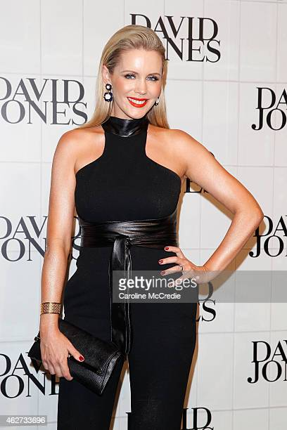 Sophie Falkiner arrives at the David Jones Autumn/Winter 2015 Collection Launch at David Jones Elizabeth Street Store on February 4 2015 in Sydney...