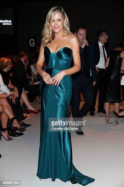 Sophie Falkiner arrives at the Johanna Johnson Presented By Capitol Grand show at MercedesBenz Fashion Week Australia 2015 at Carriageworks on April...