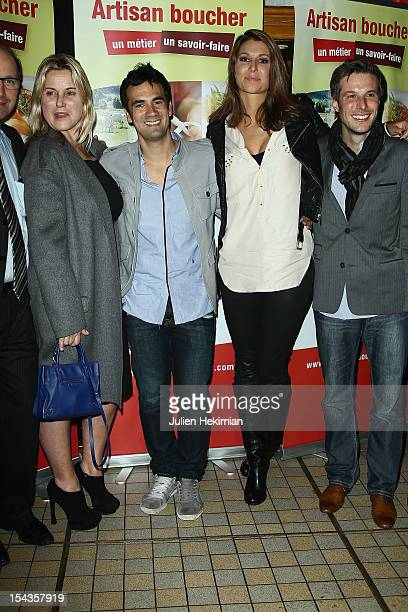 Sophie Favier Alex Goude Laury Thilleman and Gregory Cuilleron attend the 'PotAuFeu' Des Celebrites At Louchebem Restaurant on October 18 2012 in...