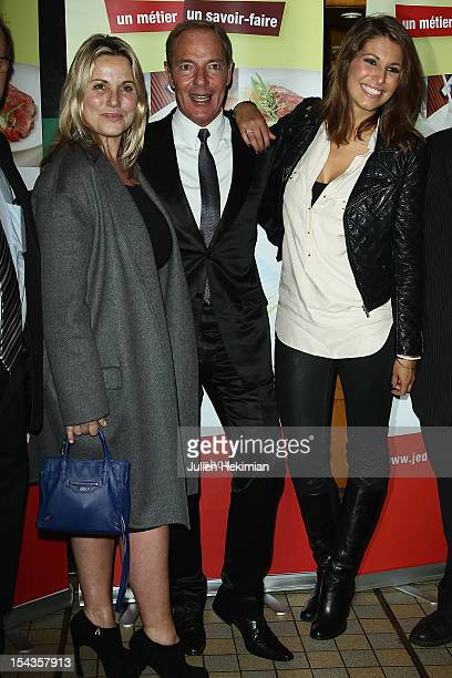 Sophie FavierTony Gomez and Laury Thilleman attend the 'PotAuFeu' Des Celebrites At Louchebem Restaurant on October 18 2012 in Paris France