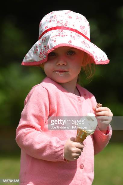 Sophie Forrest enjoys an ice cream on her third birthday in StratforduponAvon as forecasters predict that a wave of warm air will move across the...