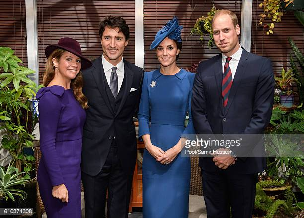 Sophie GregoireTrudeau Prime Minister Justin Trudeau Catherine Duchess of Cambridge and Prince William Duke of Cambridge on September 24 2016 in...