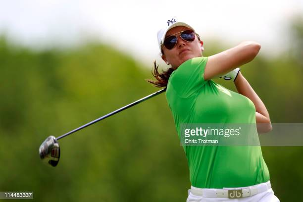Sophie Gustafson of Sweden hits her drive on the 18th tee in round three of the Sybase Match Play Championship at Hamilton Farm Golf Club on May 21...