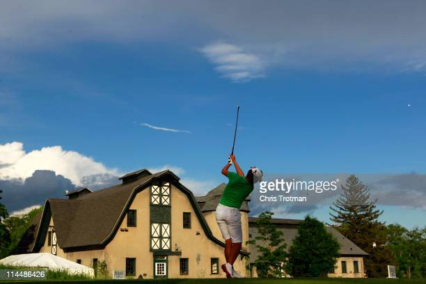 Sophie Gustafson of Sweden hits her tee shot on the 16th hole in round four of the Sybase Match Play Championship at Hamilton Farm Golf Club on May...