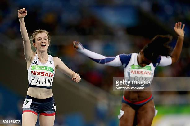 Sophie Hahn of Great Britain celebrates after winning the women's 100 meter T38 on day 2 of the Rio 2016 Paralympic Games at on September 9 2016 in...