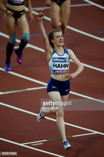 Sophie Hahn of Great Britain celebrates winning the final of the womens 100m T38 final on day nine of the IPC World ParaAthletics Championships 2017...