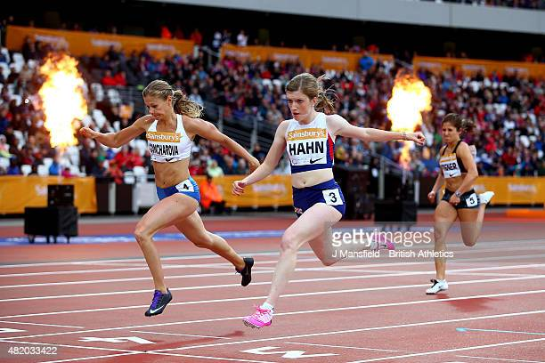 Sophie Hahn of Great Britain crosses the line to win the Women's 100m T38 ahead of Margarita Goncharova of Russia during the IPC Grand Prix Final on...