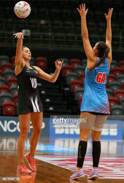 Sophie Halpin of the Magpies passes during the round six ANL match between the Netball NSW Waratahs and the Tasmanian Magpies at Sydney Olympic Park...