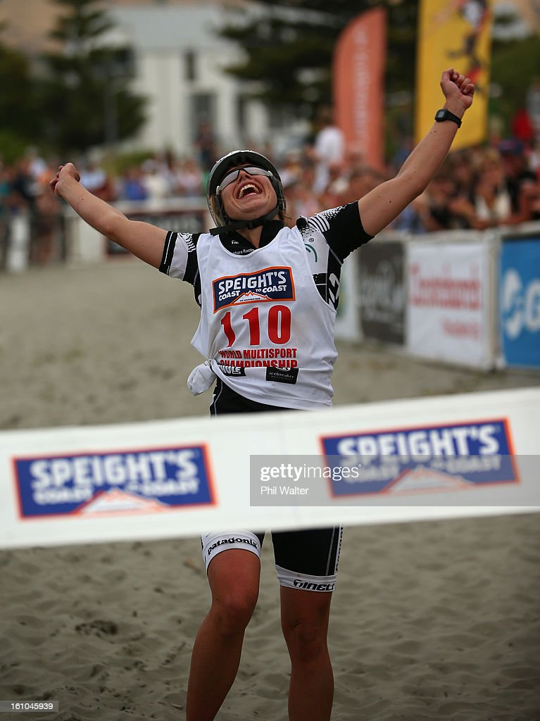 Sophie Hart of New Zealand celebrates winning the womens one day individual event during the 2013 Speights Coast to Coast on February 9, 2013 in Christchurch, New Zealand.