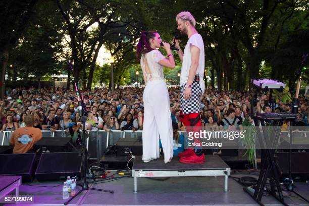 Sophie HawleyWeld and Tucker Halpern of Sofi Tucker perform during Lollapalooza at Grant Park on August 6 2017 in Chicago Illinois