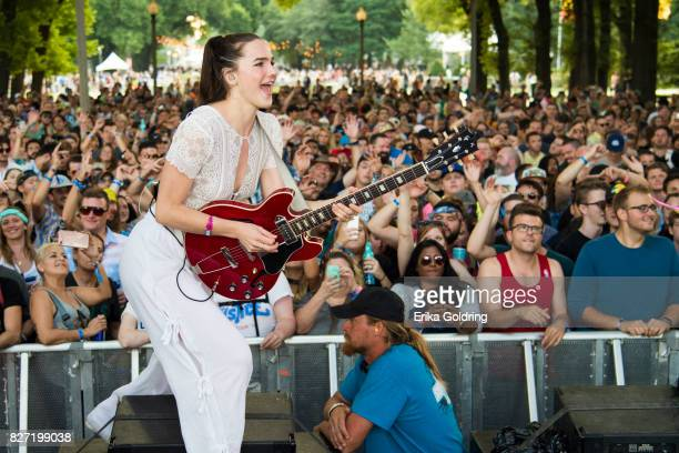 Sophie HawleyWeld of Sofi Tucker performs during Lollapalooza at Grant Park on August 6 2017 in Chicago Illinois