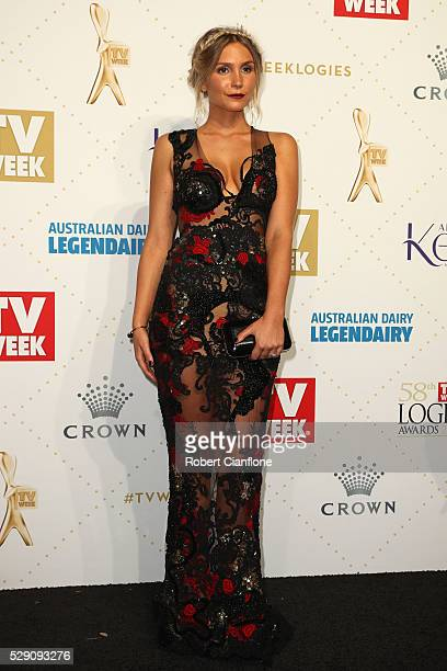 Sophie Hensser arrives at the 58th Annual Logie Awards at Crown Palladium on May 8 2016 in Melbourne Australia