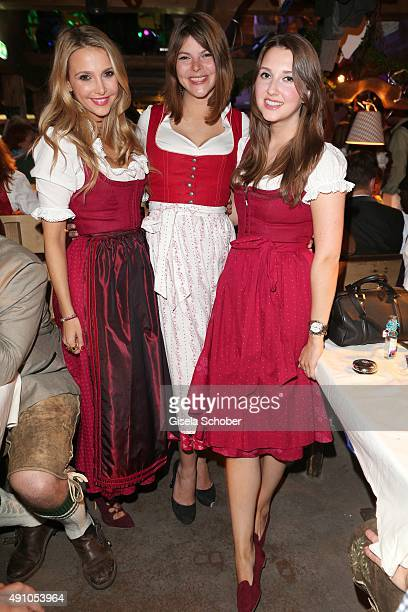 Sophie Hermann and her stepsister Julia Tewaag daughter of Uschi Glas and sister Charlotte Hermann during the Oktoberfest 2015 at Kaeferschaenke at...