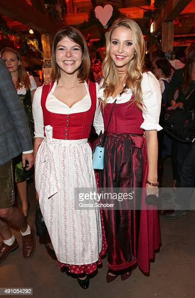 Sophie Hermann and her stepsister Julia Tewaag daughter of Uschi Glas during the Oktoberfest 2015 at Kaeferschaenke at Theresienwiese on Oktober 02...