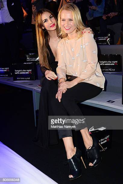 Sophie Hermann and Nova Meierhenrich attends the 'The Power Of Colors MAYBELLINE New York MakeUp Runway' show during the MercedesBenz Fashion Week...