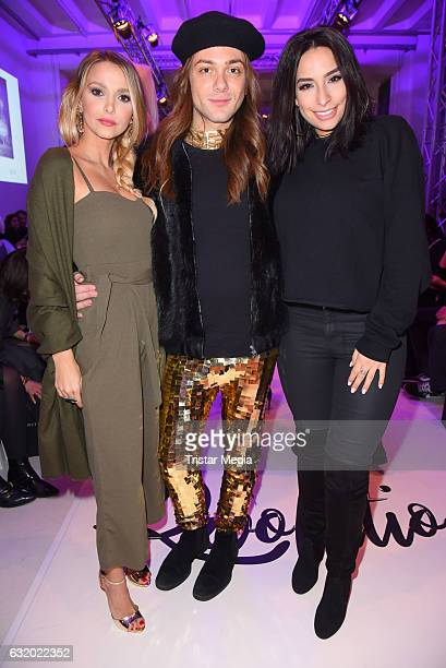 Sophie Hermann Riccardo Simonetti and Lamiya Slimani attend the Marcel Ostertag show during the MercedesBenz Fashion Week Berlin A/W 2017 at Delight...