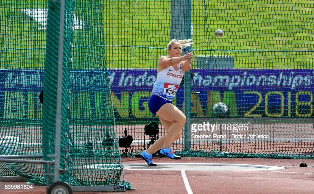 Sophie Hitchon of Great Britain in the women's hammer throw during the Muller Grand Prix and IAAF Diamond League event at Alexander Stadium on August...