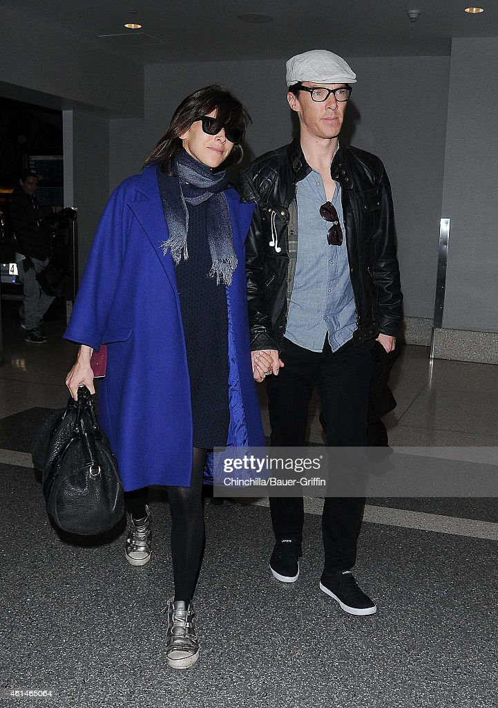 Sophie Hunter and Benedict Cumberbatch are seen at LAX on January 12 2015 in Los Angeles California