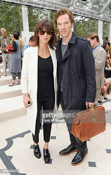 Sophie Hunter and Benedict Cumberbatch attend the Burberry Womenswear Spring/Summer 2016 show during London Fashion Week at Kensington Gardens on...