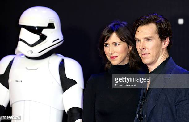 Sophie Hunter and Benedict Cumberbatch attend the European Premiere of 'Star Wars The Force Awakens' at Leicester Square on December 16 2015 in...