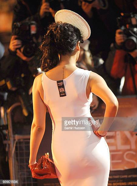 Sophie Hyatt with label still attached arrives at the Charity Royal Film Performance 2009 of 'The Lovely Bones' at the Odeon Leicester Square on...