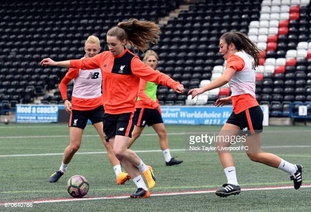 Sophie Ingle Niamh Charles Laura Coombs and Katie Zelem of Liverpool Ladies during a training session at Select Security Stadium on April 13 2017 in...