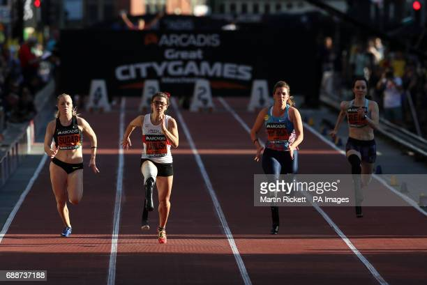 Sophie Kamlish before winning the Women's T44 100m ahead of Laura Sugar Marlou Van Rhijn and Stefanie reid during the Arcadis Great CityGames at...