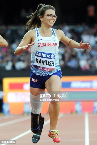 Sophie Kamlish of Great Britain wins the gold medal in the Women's 100m T44 final at London Stadium on July 17 2017 in London England