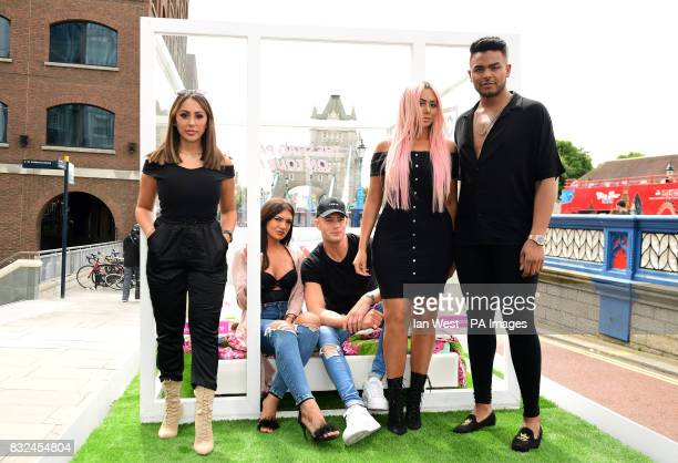 Sophie Kasaei Abbie Holborn Scott Timlin Chloe Ferry and Nathan Henry from the cast of Geordie Shore attending the photocall to launch series 15 of...