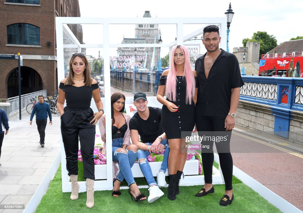 Sophie Kasaei, Abbie Holborn, Scotty T, Chloe Ferry and Nathan Henry attend the Geordie Shore series 15 'Shag Pad on Tour ' cast launch at Tower Bridge on August 16, 2017 in London, England.