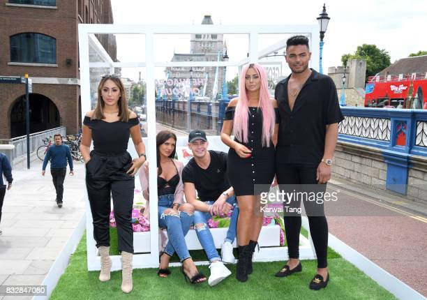 Sophie Kasaei Abbie Holborn Scotty T Chloe Ferry and Nathan Henry attend the Geordie Shore series 15 'Shag Pad on Tour ' cast launch at Tower Bridge...