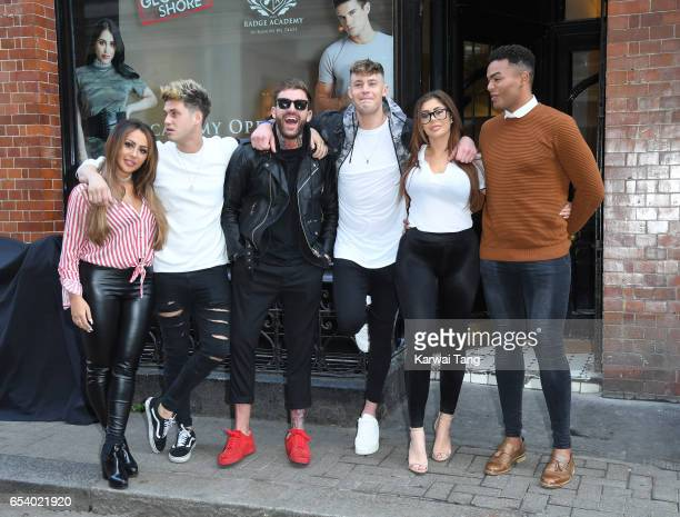 Sophie Kasaei Marty Mckenna Aaron Chalmers Scott Timlin Chloe Ferry and Nathan Henry attend the Geordie Shore Radge Academy open day in Soho on March...