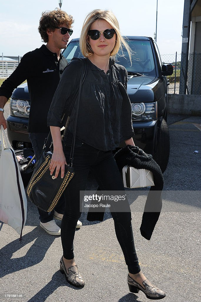 <a gi-track='captionPersonalityLinkClicked' href=/galleries/search?phrase=Sophie+Kennedy+Clark&family=editorial&specificpeople=7256528 ng-click='$event.stopPropagation()'>Sophie Kennedy Clark</a> is seen leaving the Venice Airport during The 70th Venice International Film Festival on September 1, 2013 in Venice, Italy.