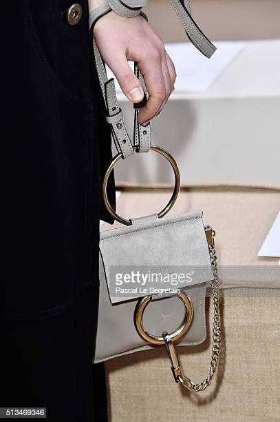 Sophie Kennedy Clarkbag detail attends the Chloe show as part of the Paris Fashion Week Womenswear Fall/Winter 2016/2017 on March 3 2016 in Paris...